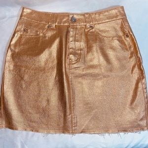 F21 Rose Gold Metallic Denim Mini Skirt Size Small